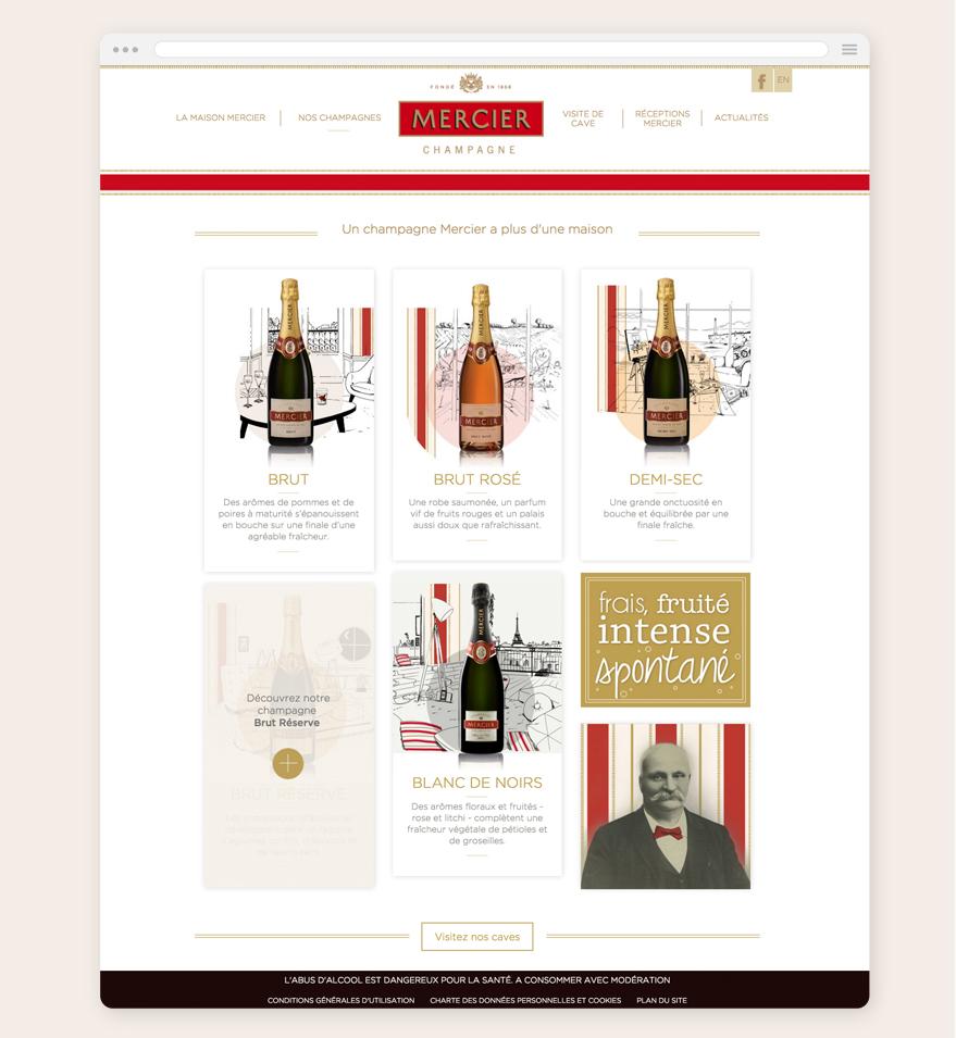 Cam.Lab. webdesign Gamme Champagnes Mercier