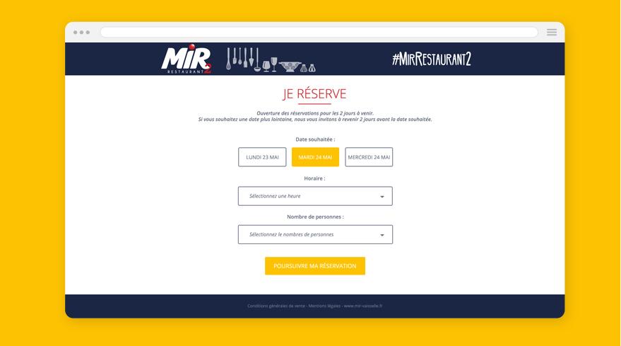 Cam.Lab. webdesign Mir Restaurant éphémère reservation