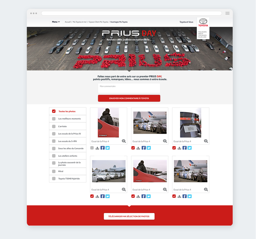 Cam.Lab. Webdesign mini-site Prius Day galerie