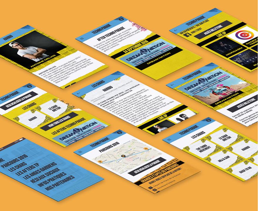 Cam.Lab. webdesign Techno Parade application