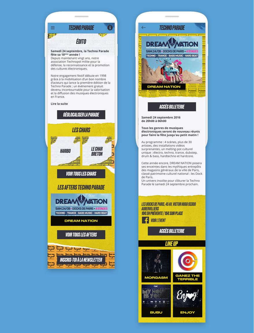Cam.Lab. webdesign Techno Parade application présentation