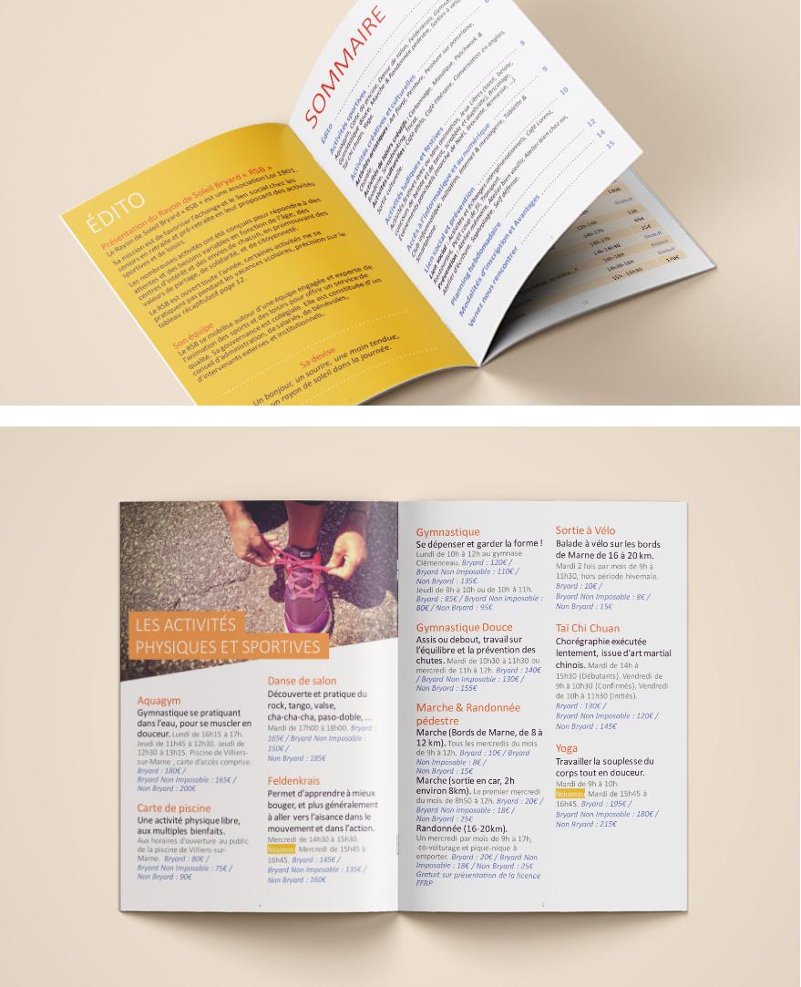 Rayon de Soleil Bryard - mise en page brochure - illustration - Camille Labory