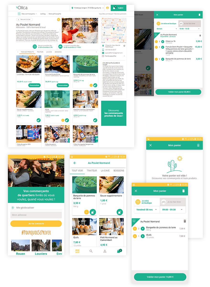 Ollca - fonctionnement du panier +application mobile